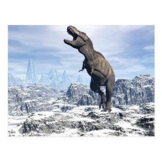 Cartão Postal Tiranossauro na neve - 3D rendem
