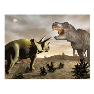 Cartão Postal Tiranossauro que ruje no triceratops - 3D rendem