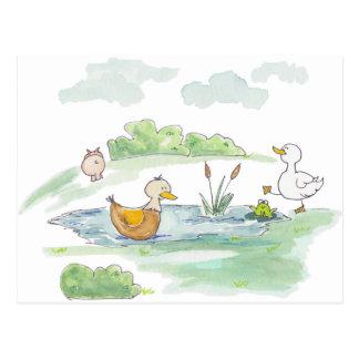 Cartão Postal Toda em torno do Barnyard - patos pelo arqueiro de