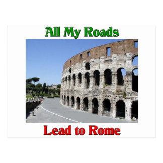 Cartão Postal Todas minhas estradas conduzem a Roma Italia