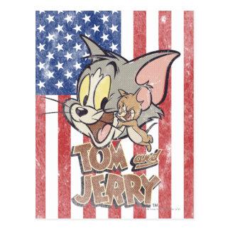 Cartão Postal Tom & Jerry com bandeira dos E.U.