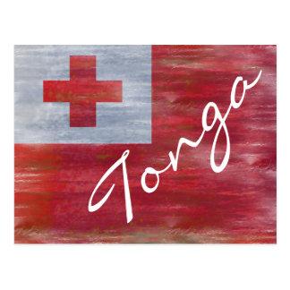 Cartão Postal Tonga afligiu a bandeira tonganesa