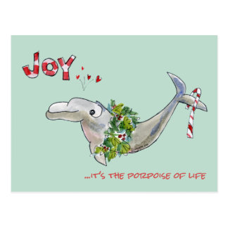 Cartão Postal Toninha do golfinho do Natal da alegria da vida