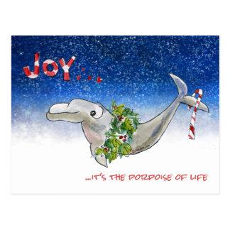 Cartão Postal Toninha do golfinho do Natal da alegria de