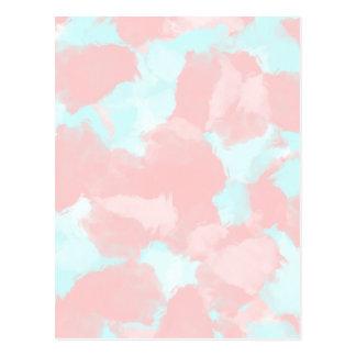 Cartão Postal Tons modernos da escova do cerulean e do rosa