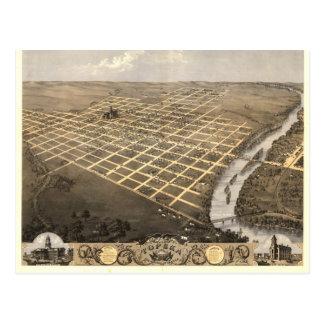 Cartão Postal Topeka KS, mapa 1869 panorâmico antigo