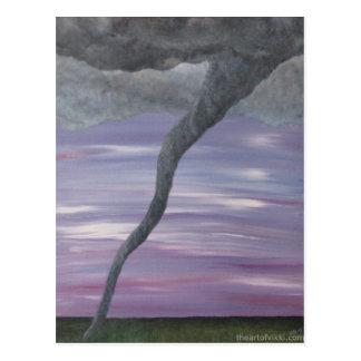 Cartão Postal Tornado TornadoPainting cinzento roxo de Z