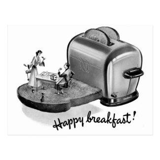 Cartão Postal Torradeira 'Breakfast feliz do pequeno almoço do