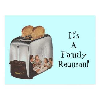 Cartão Postal Torradeira retro da reflexão da reunião de família