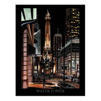 Cartão Postal Torre de água de Chicago que pinta a arte de