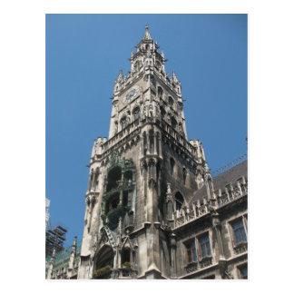 Cartão Postal Torre do Glockenspiel - Munich, Alemanha