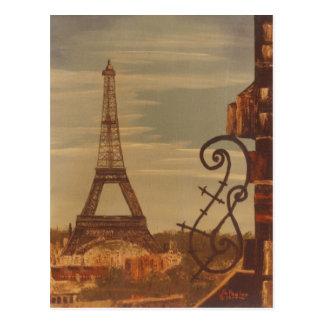 Cartão Postal Torre Eiffel, acrílico de Parism France na arte