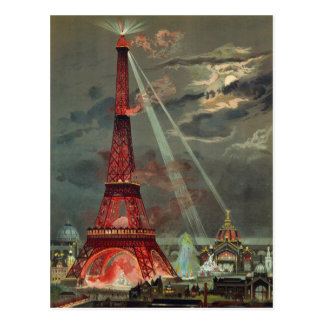 Cartão Postal Torre Eiffel antiga Paris France do art deco do