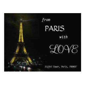 Cartão Postal TORRE EIFFEL - de Paris com AMOR