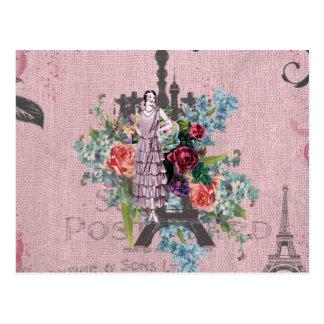 Cartão Postal Torre Eiffel de Paris das rosas vermelhas de