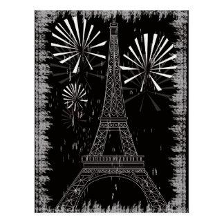 Cartão Postal torre Eiffel do grunge