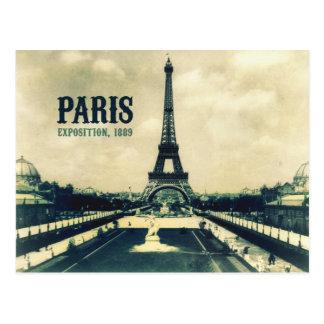 Cartão Postal Torre Eiffel do vintage, Paris, 1889