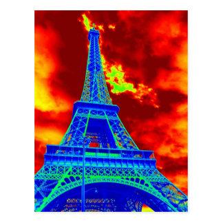 Cartão Postal torre Eiffel no fogo