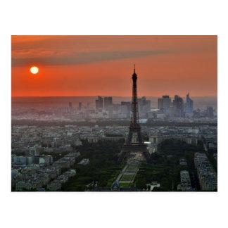 Cartão Postal Torre Eiffel, Paris pelo por do sol