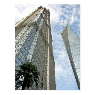 Cartão Postal Torre financeira de Shanghai e torre de Jin Mao