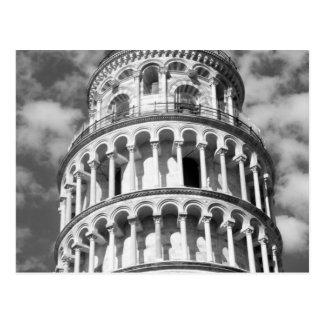 Cartão Postal Torre inclinada branca preta de Pisa Italia