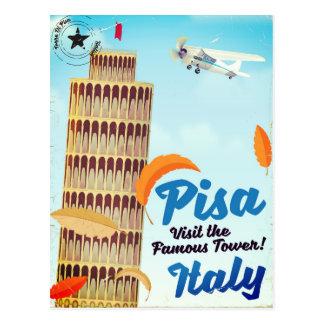 Cartão Postal Torre inclinada da cópia das férias do vintage de
