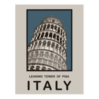 Cartão Postal Torre inclinada de Italia de Pisa