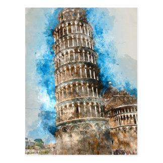 Cartão Postal Torre inclinada de Pisa em Italia