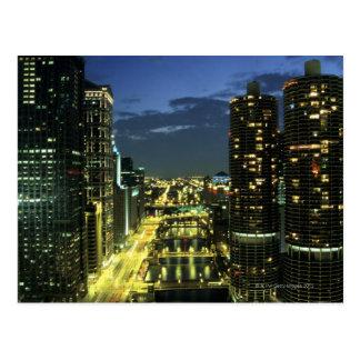 Cartão Postal Torres do porto, Chicago River, movimentação de