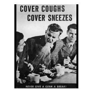Cartão Postal Tosses do cobrir, Sneezes do cobrir