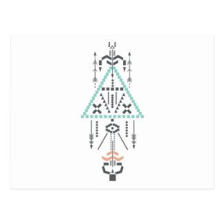 Cartão Postal Totem de Boho, símbolo étnico, Hippie, asteca,