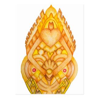 Cartão Postal Totem pintado mão da arte