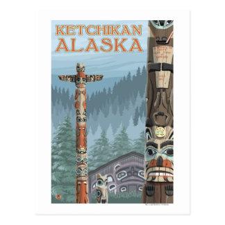 Cartão Postal Totem pólos - Ketchikan de Alaska, Alaska