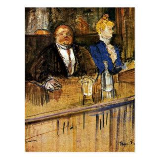 Cartão Postal Toulouse-Lautrec - no café, cliente