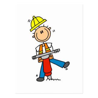 Cartão Postal Trabalhador da construção com martelo de Jack