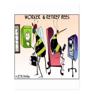 Cartão Postal Trabalhador e abelha aposentada