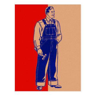 Cartão Postal Trabalhador manual do kitsch do vintage nos