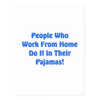 Cartão Postal Trabalho em casa em seus pijamas