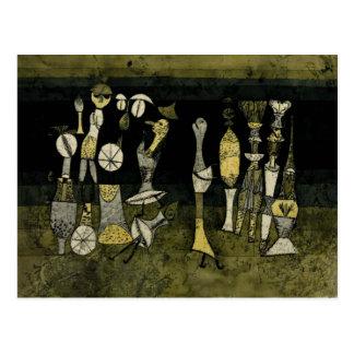 """Cartão Postal Trabalhos de arte de Klee, """"comédia """""""