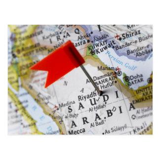 Cartão Postal Trace o pino colocado em Riyadh, Arábia Saudita no