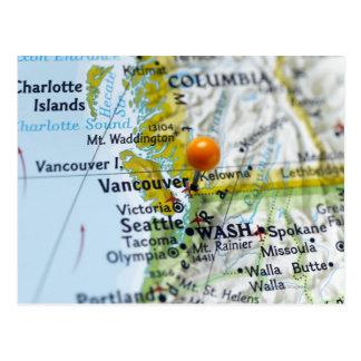 Cartão Postal Trace o pino colocado em Vancôver, Canadá no mapa,
