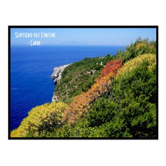 Cartão Postal Trajeto do fortini do dei de Sentiero - Capri,