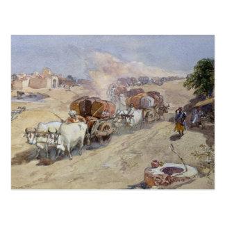 Cartão Postal Transporte do algodão, India, 1862 (w/c sobre o