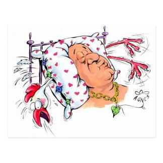 Cartão Postal Travesseiro com penas da galinha?