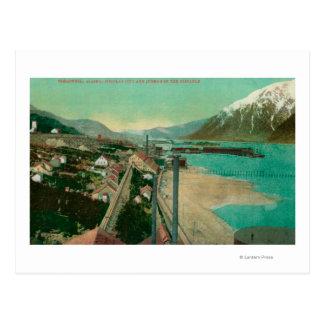 Cartão Postal Treadwell, AK e cidade e Juneau de Douglas dentro