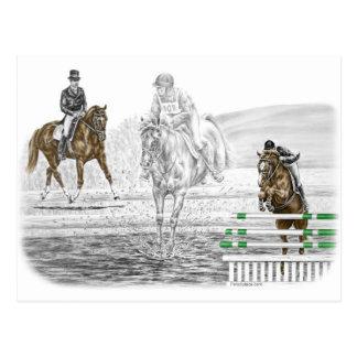 Cartão Postal treinamento combinado de 3 cavalos de Eventing do