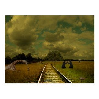 Cartão Postal treine tracs com girafas, ursos, elefantes