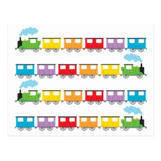 Cartão Postal Trem & carruagems