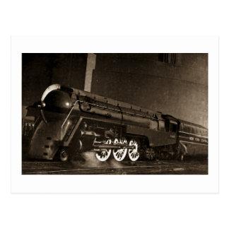 Cartão Postal Trem central do art deco do vintage de New York
