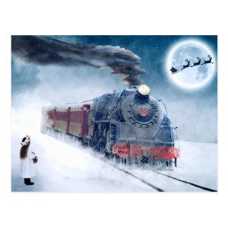Cartão Postal Trem da meia-noite do Natal com menina e papai